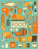 Food Set. Set of food ingredients in Retro-Styled Stock Photo