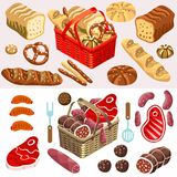 Food Set Meat and Bread Isometric Stock Images