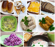 Food set of photos. Collage Food set of photos breakfast menu and lunch close-up Royalty Free Stock Photo