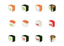 Food set with sushi and rolls solated vector illustration. Realistic concept royalty free illustration