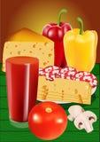 Food set. Tomato juice, salami, pepers, mushrooms and cheese Royalty Free Stock Photos