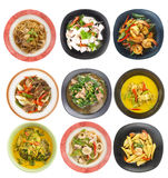 Food set - Top view of Thai food. Isolated on white royalty free stock image