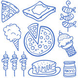 Food set various of doodles Royalty Free Stock Photography