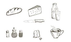 Food set of vector sketches Royalty Free Stock Photo