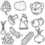 Food set vegetable of doodles Stock Photo