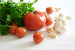 Food set with vegetables and garlic Royalty Free Stock Photography