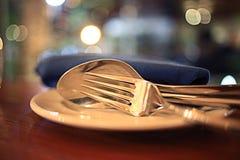 Food settings in restaurant Stock Image