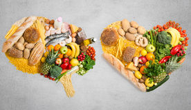 Food for thought and heart. Food in a shape of a brain and heart Stock Photography