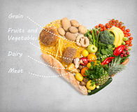 Food for heart. Food in a shape of a heart royalty free stock images