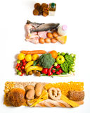 Food pyramid. Food in a shape of a pyramid stock photos