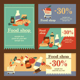 Food shop banners. A set of templates banners. The concept of flat design for food shop Royalty Free Stock Photos