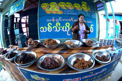 Food shop in Myanmar. Stock Photos