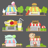 Food shop set. Set of lovely food store,ice cream shop,hamburger shop,smoothie shop,bakery shop,candy shop,and pizza shop Royalty Free Stock Photography