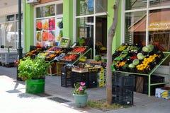 Food shop on the street of the city of Loutraki. Stock Photos