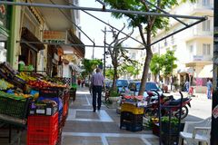 Food shop on the street of the city of Loutraki. Royalty Free Stock Images
