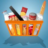 Food in shopping basket. Food decorative elements collection in shopping basket vector illustration Stock Image