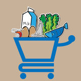 Food shopping cart Stock Photography