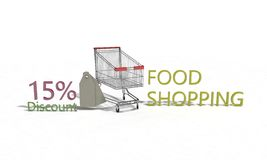 Food shopping Discount %15 on white , 3d render Royalty Free Stock Photo