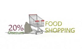Food shopping Discount %20 on white , 3d render. Food shopping Discount 20 on white , 3d render working Royalty Free Stock Photo