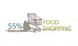 Food shopping Discount %55 on white , 3d render. Food shopping Discount 55 on white , 3d render working Stock Image
