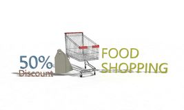 Food shopping Discount %50 on white , 3d render. Food shopping Discount 50 on white , 3d render working Stock Image