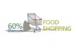 Food shopping Discount %60 on white , 3d render. Food shopping Discount 60 on white , 3d render working Royalty Free Stock Photos