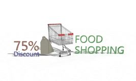 Food shopping Discount %75 on white , 3d render. Food shopping Discount 75 on white , 3d render working Royalty Free Stock Photo