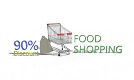 Food shopping Discount %90 on white , 3d render Royalty Free Stock Photos