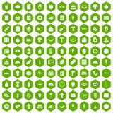 100 food shopping icons hexagon green. 100 food shopping icons set in green hexagon isolated vector illustration Royalty Free Stock Photography