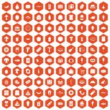100 food shopping icons hexagon orange Royalty Free Stock Image