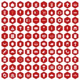 100 food shopping icons hexagon red. 100 food shopping icons set in red hexagon isolated vector illustration Royalty Free Stock Images