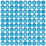 100 food shopping icons set blue. 100 food shopping icons set in blue circle isolated on white vectr illustration royalty free illustration