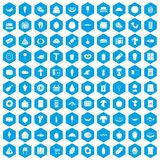 100 food shopping icons set blue. 100 food shopping icons set in blue hexagon isolated vector illustration Stock Photos