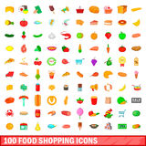 100 food shopping icons set, cartoon style. 100 food shopping icons set in cartoon style for any design vector illustration Stock Photography