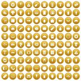 100 food shopping icons set gold. 100 food shopping icons set in gold circle isolated on white vectr illustration Stock Image