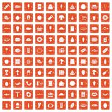 100 food shopping icons set grunge orange. 100 food shopping icons set in grunge style orange color isolated on white background vector illustration Royalty Free Stock Photography