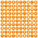 100 food shopping icons set orange Royalty Free Stock Photos