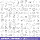 100 food shopping icons set, outline style Royalty Free Stock Image