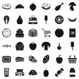 Food shopping icons set, simple style. Food shopping icons set. Simple style of 36 food shopping vector icons for web isolated on white background Stock Photo