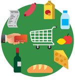 Food shopping in supermarket Stock Photo