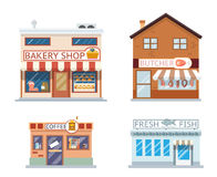 Food shops building set butcher coffee fish bakery flat design vector illustration Royalty Free Stock Photos