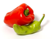Food shot. Red and green pepper stock images
