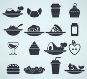 Food silhouettes in info-graphic style. Large vector collection of food silhouettes in info-graphic style Royalty Free Stock Images