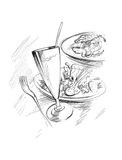 Food sketch. Sketch of various dishes and drink vector illustration