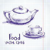 Food  sketch. Vector set of sketches of food and dishes Stock Photography