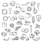 Food, sketches of icons Stock Image