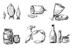 Food sketches Royalty Free Stock Images