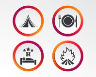 Food, sleep, camping tent and fire signs. Food, sleep, camping tent and fire icons. Knife, fork and dish. Hotel or bed and breakfast. Road signs. Infographic Stock Image