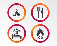 Food, sleep, camping tent and fire signs. Food, sleep, camping tent and fire icons. Knife and fork. Hotel or bed and breakfast. Road signs. Infographic design Royalty Free Stock Images