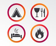 Food, sleep, camping tent and fire signs. Food, sleep, camping tent and fire icons. Knife, fork and wineglass. Hotel or bed and breakfast. Road signs Stock Images